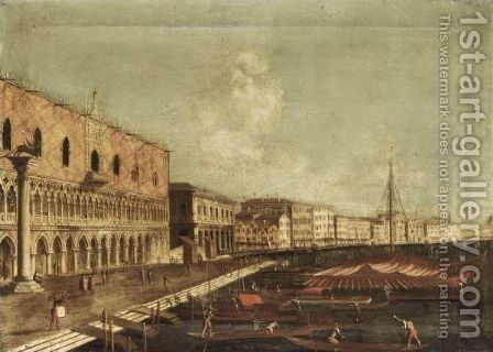 Venice, A View Of The Bacino Di San Marco by (after) (Giovanni Antonio Canal) Canaletto - Reproduction Oil Painting