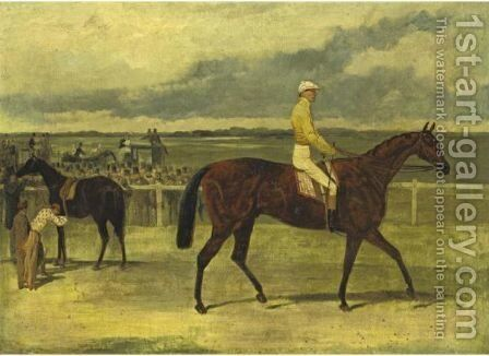 Mr. J. B. Morris's Knight Of St. George With Robert Basham Up by Harry Hall - Reproduction Oil Painting