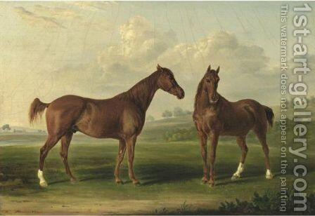 Two Chestnuts In A Landscape by Henri Delattre - Reproduction Oil Painting
