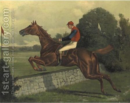Trouble Taking A Stone Wall by Henry Stull - Reproduction Oil Painting