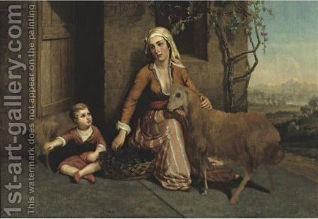 Mother And Child- Syria by Edward Troye - Reproduction Oil Painting