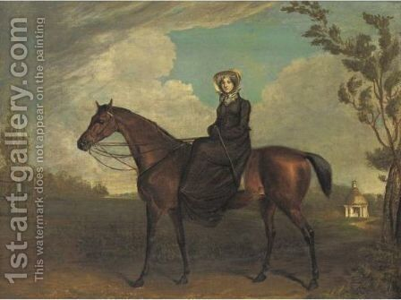 A Lady Riding Sidesaddle On A Chestnut Horse by (after) Edward Troye - Reproduction Oil Painting