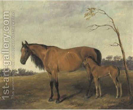 Col. William Ransom Johnson's Mare And Foal by Edward Troye - Reproduction Oil Painting