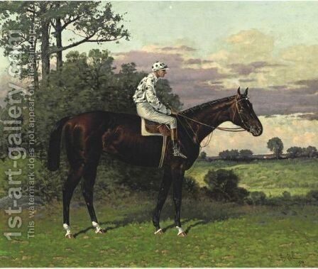 Domino With Jockey Up by Henry Stull - Reproduction Oil Painting