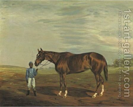 20th Century A Chestnut Thoroughbred With Jockey In Blue Silks by American School - Reproduction Oil Painting