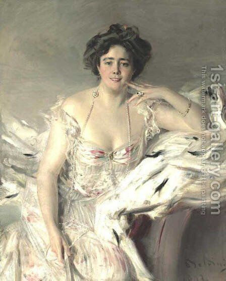 Portrait Of Lady Nanne Schrader, Nee Wiborg by Giovanni Boldini - Reproduction Oil Painting