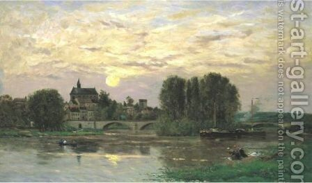 Washerwomen At Sunset by Hippolyte Camille Delpy - Reproduction Oil Painting