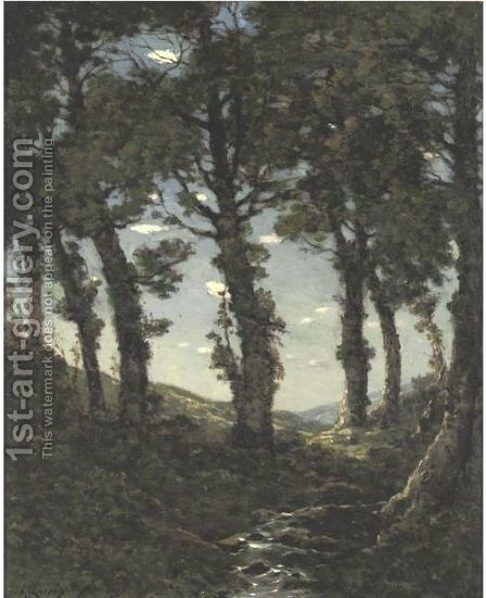 Wooded Landscape With A Stream by Henri-Joseph Harpignies - Reproduction Oil Painting