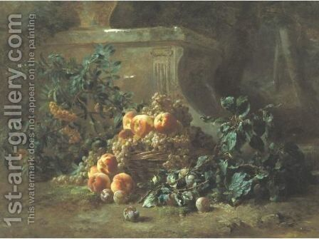 Basket Of Peaches, Plums, And Flowers In A Garden by Gustave-Emile Couder - Reproduction Oil Painting