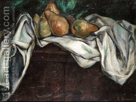 Nature Morte Aux Poires Sur Nappe Blanche by Emile Bernard - Reproduction Oil Painting