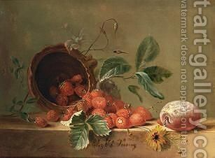 A Still Life With Strawberries And A Prune by Elisabeth Johanna Koning - Reproduction Oil Painting