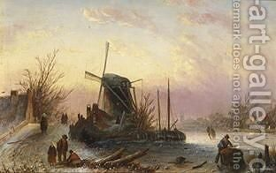 A Winter Landscape With Figures Near A Windmill by Jan Jacob Coenraad Spohler - Reproduction Oil Painting