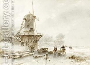 A Winter Landscape With A Windmill And Skaters On The Ice by Andreas Schelfhout - Reproduction Oil Painting