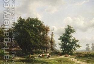 Cows Near A Windmill In A Wooded Landscape by Jan Frederik Van Deventer - Reproduction Oil Painting