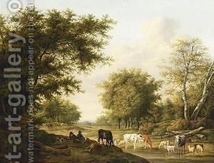 Resting Cowherds With Their Cattle by Jan Baptist Kobell - Reproduction Oil Painting