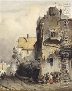 Figures Conversing In A Dutch Town by Charles Henri Leickert - Reproduction Oil Painting