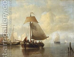 Shipping In A Calm by Antonie Waldorp - Reproduction Oil Painting