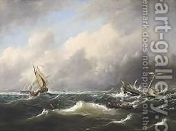 Sailing Vessels On Choppy Seas by Govert Van Emmerik - Reproduction Oil Painting