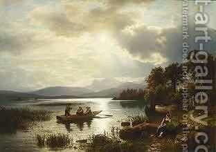 Figures Boating On The Chiemsee by August Wilhelm Leu - Reproduction Oil Painting