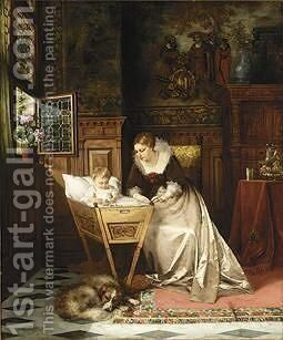 An Elegant Lady And Her Baby In An Interior by Max Todt - Reproduction Oil Painting