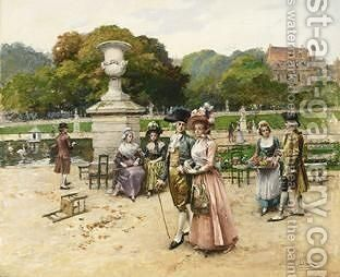 Elegant Figures Strolling In A Park by Henri Victor Lesur - Reproduction Oil Painting