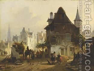 A Busy Day In Antwerp by Jan Michael Ruyten - Reproduction Oil Painting