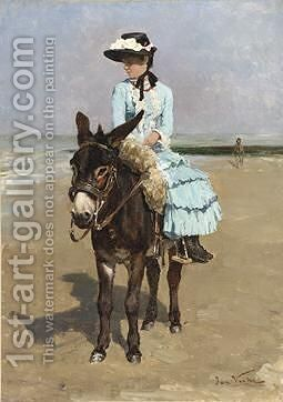 The Donkey Ride by Jan Francios Verhas - Reproduction Oil Painting
