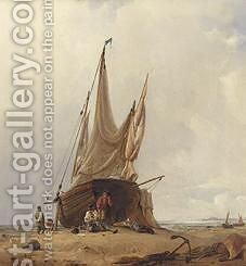 Figures By A Beached Sailing Vessel by Jacobus Albertus Michael Jacobs - Reproduction Oil Painting