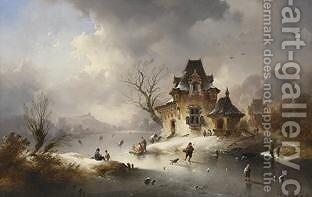 A Winterlandscape With Skaters On A Frozen Waterway by Charles van den Eycken - Reproduction Oil Painting