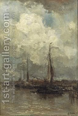 Moored Sailingboats by Jacob Henricus Maris - Reproduction Oil Painting