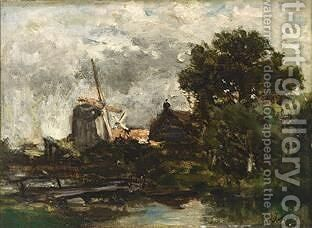 Windmills In A Polder Landscape by Jacob Henricus Maris - Reproduction Oil Painting