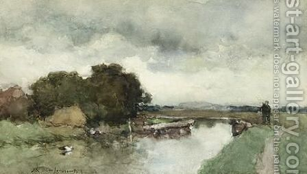 A Peasant In A Polder Landscape by Jan Hendrik Weissenbruch - Reproduction Oil Painting