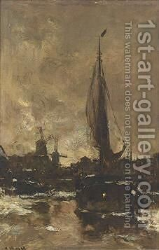 A Moored Vessel Near A Town by Jacob Henricus Maris - Reproduction Oil Painting