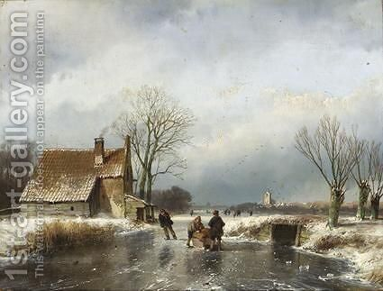 Skaters On A Frozen Waterway, A Village In The Distance by Andreas Schelfhout - Reproduction Oil Painting