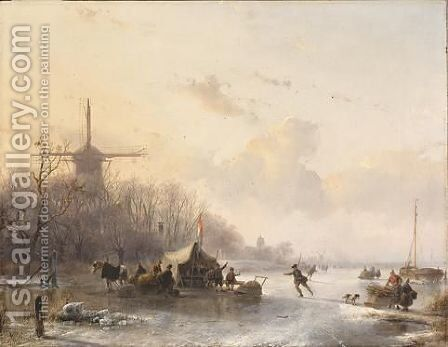 Skaters Near A 'Koek En Zopie', A Windmill In The Distance by Andreas Schelfhout - Reproduction Oil Painting
