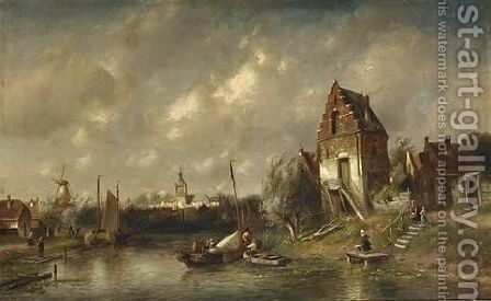 Figures In A River Landscape, A Town Beyond by Charles Henri Leickert - Reproduction Oil Painting