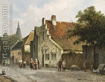 Villagers In The Streets Of A Dutch Town 4 by Adrianus Eversen - Reproduction Oil Painting