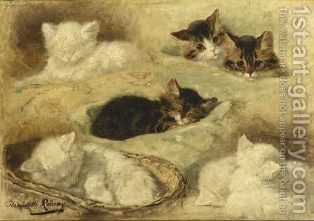 Kittens At Rest by Henriette Ronner-Knip - Reproduction Oil Painting