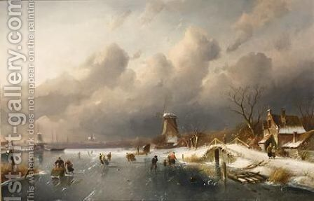 Skaters On A Frozen Waterway, Windmills In The Background by Charles Henri Leickert - Reproduction Oil Painting