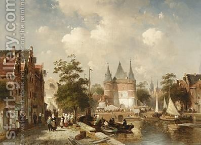 A Busy Canal Scene In A Dutch Town by Charles Henri Leickert - Reproduction Oil Painting