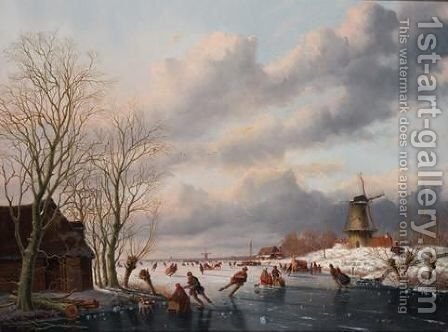A Winter Landscape With Skaters On A Frozen River, A Windmill Beyond by Anthony Andreas De Meyier - Reproduction Oil Painting