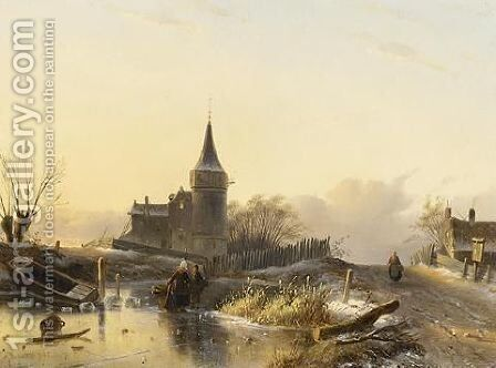 A Winter Landscape With Figures On The Ice 3 by Charles Henri Leickert - Reproduction Oil Painting