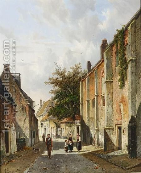 Villagers In A Sunlit Street Near The Old Hospital, Harderwijk by Adrianus Eversen - Reproduction Oil Painting