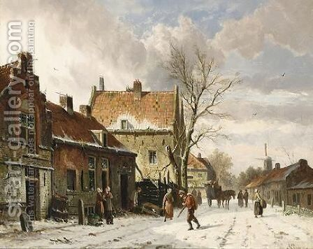 A Town Scene In Winter by Adrianus Eversen - Reproduction Oil Painting