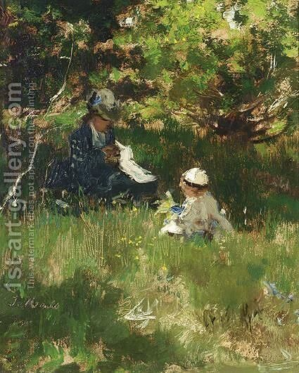 A Mother And Child In A Garden by Jacob Henricus Maris - Reproduction Oil Painting