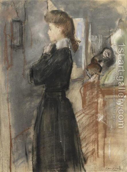 In The Fitting Room by Isaac Israels - Reproduction Oil Painting
