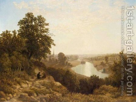 Sunset Over River Landscape by (after) James Baker Pyne - Reproduction Oil Painting
