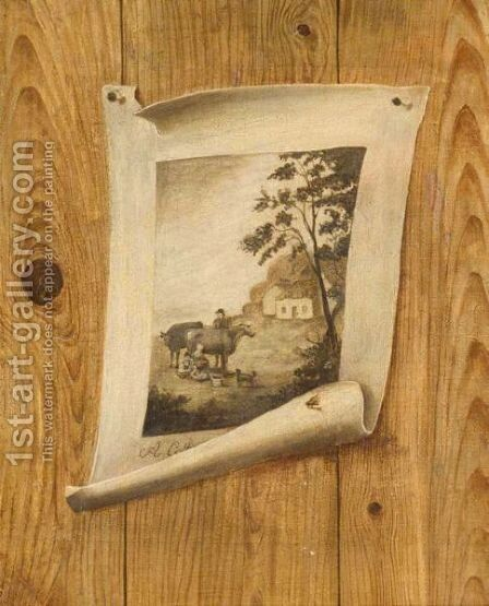 Trompe L'Oeil Of A Print Pinned To A Wooden Wall by (after) De Scott Evans - Reproduction Oil Painting