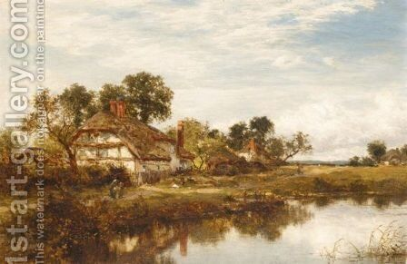 Figures Outside A Cottage By A Stream by Benjamin Williams Leader - Reproduction Oil Painting