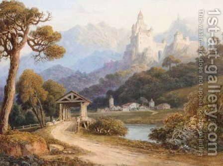 Chateau Near Collman At The Entrance Of Grednerthal by (after) Thomas Miles Richardson - Reproduction Oil Painting